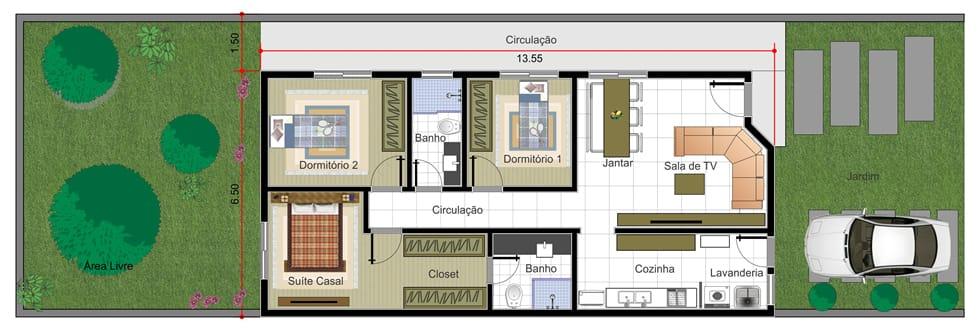 Planta de casa com suite e closet projetos de casas for Casa moderna 7x20