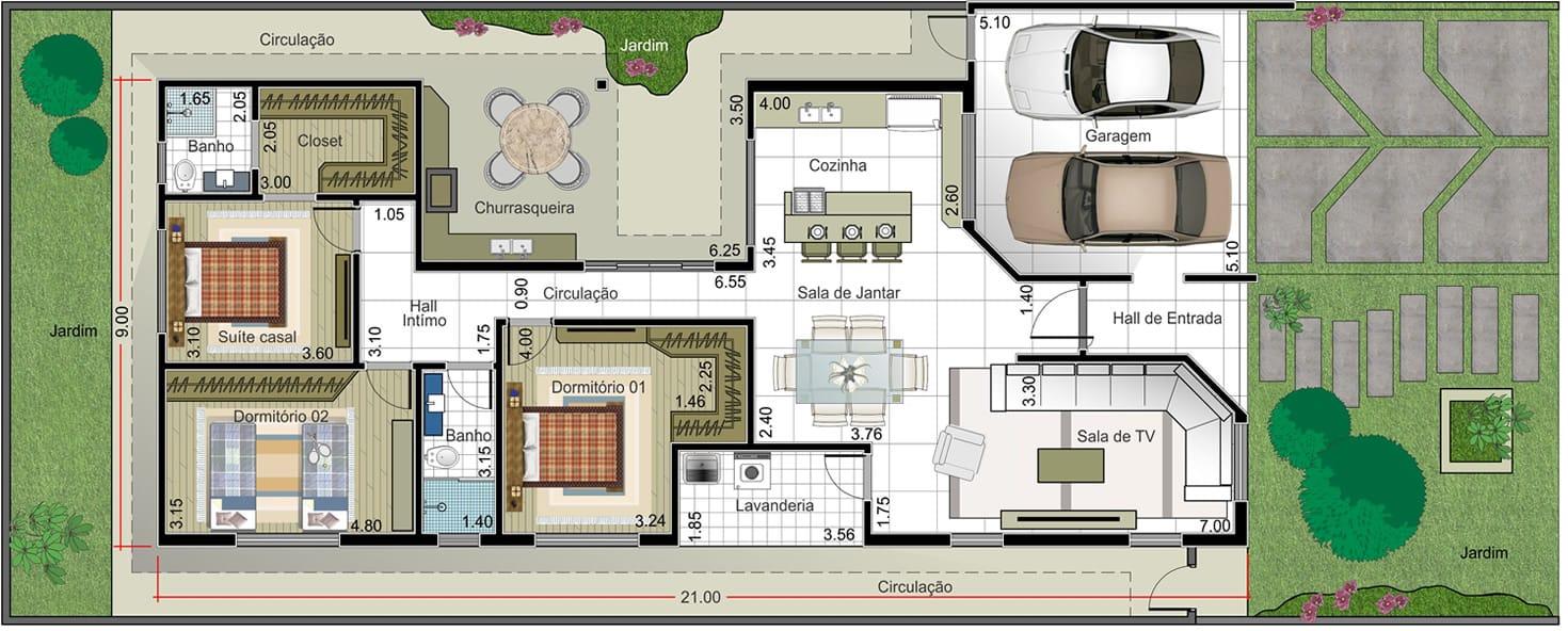 Planta de casa com suite e closet projetos de casas - Plantas para casas ...