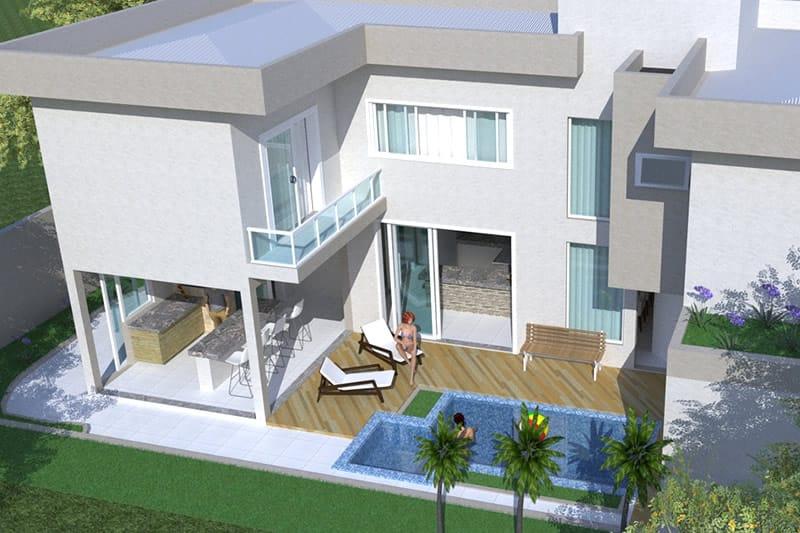 Casa com piscina quadrada