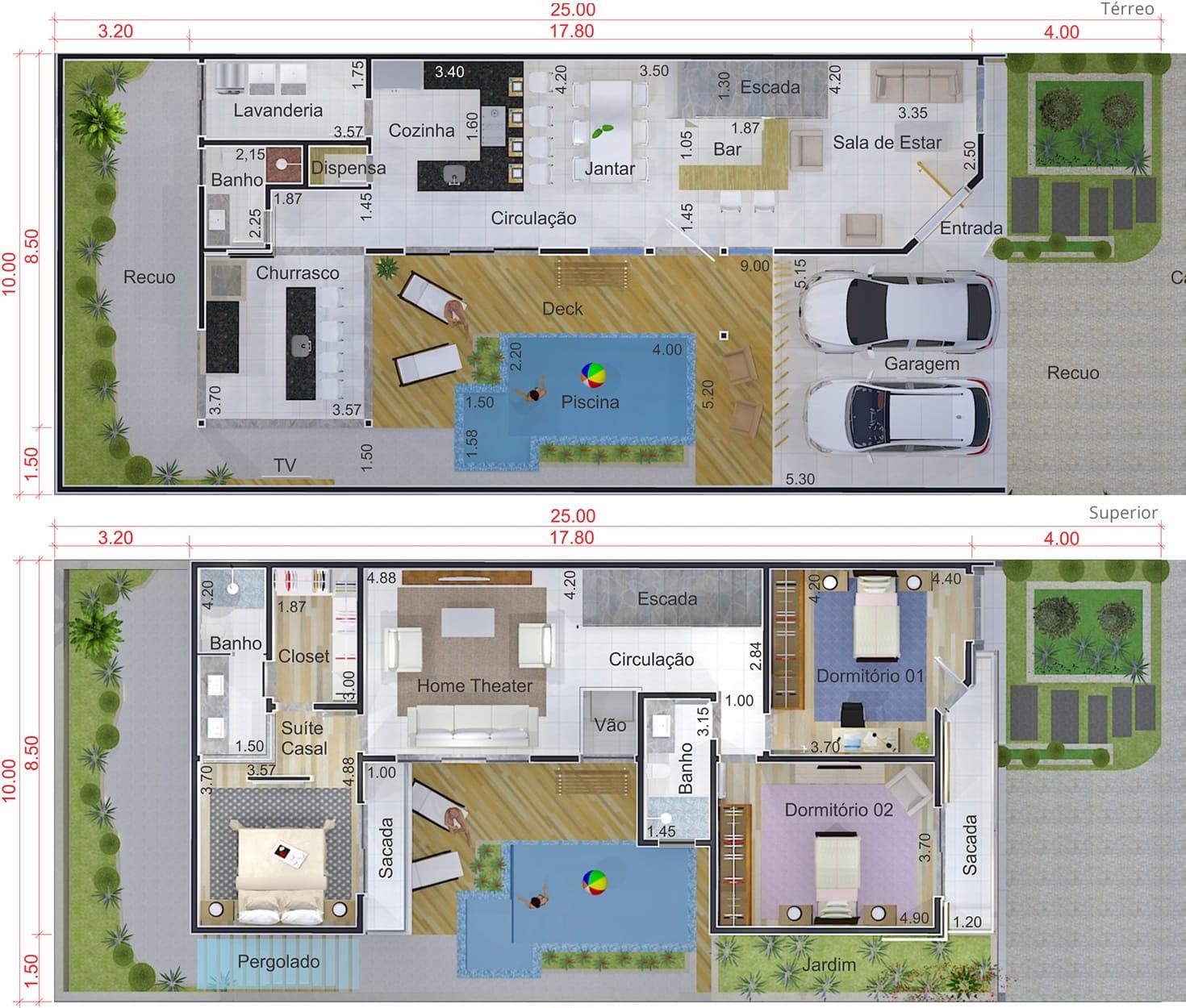 Projeto de sobrado em L com área gourmet Projetos de Casas Modelos  #49632F 1470 1250