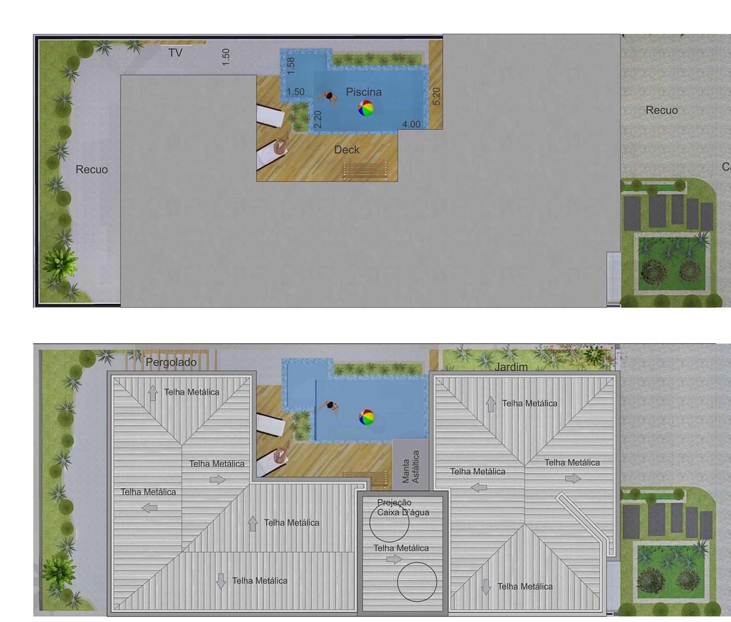 #41688A Projeto de sobrado em L com área gourmet Projetos de Casas  1470x1250 px vista banheiro autocad