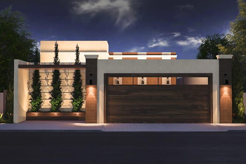 Planta de casa com port o de madeira projetos de casas for Modelos de casa estilo minimalista