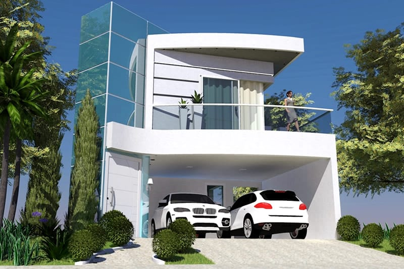 Projeto de sobrado com fachada de vidro projetos de for Fachadas de casas para segunda planta