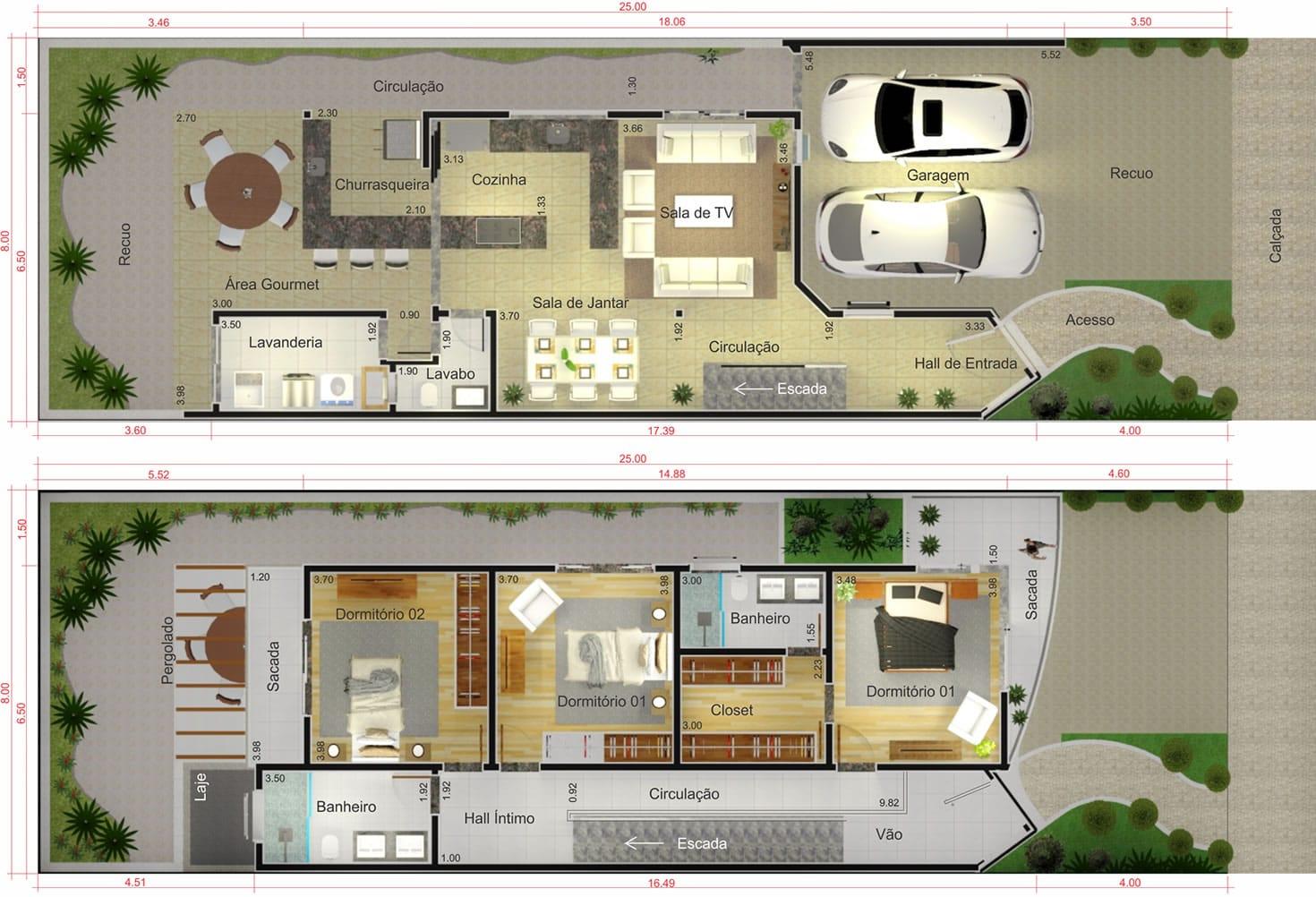 Projeto de sobrado com fachada de vidro Projetos de Casas Modelos  #977234 1470 1002