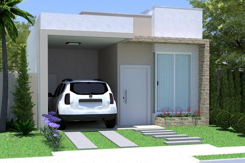 Planta de casa simples com garagem projetos de casas for Ver frentes de casas