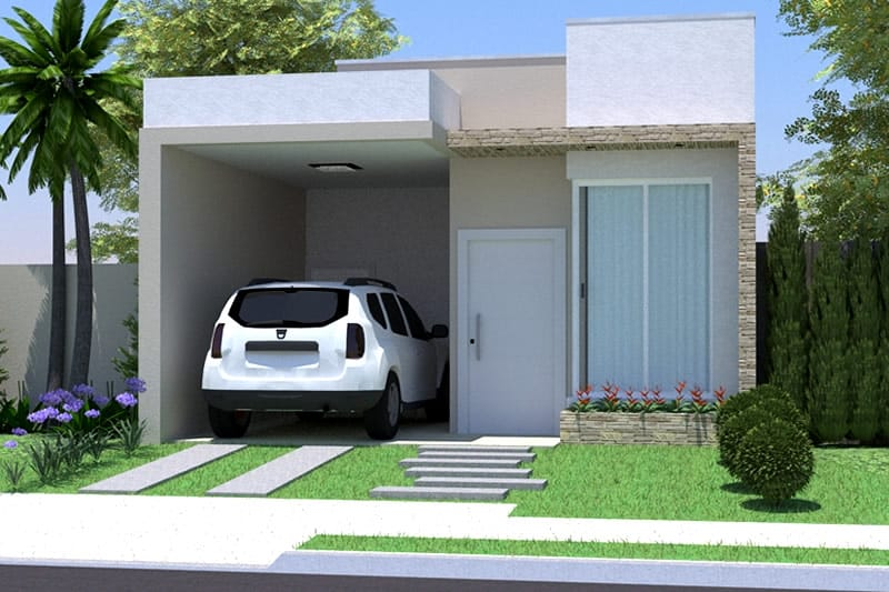 Planta de casa simples com garagem projetos de casas for Casa moderna 90m2