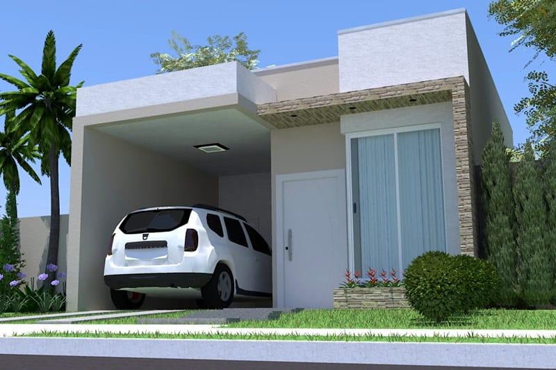 Planta de casa simples com garagem