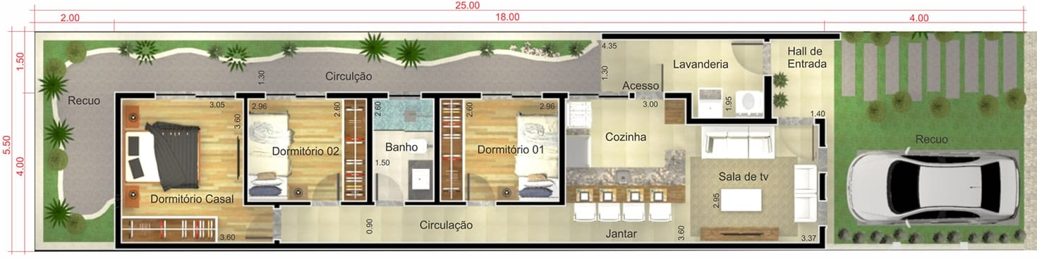 Planta de casa simples e moderna - Projetos de Casas, Modelos de Casas
