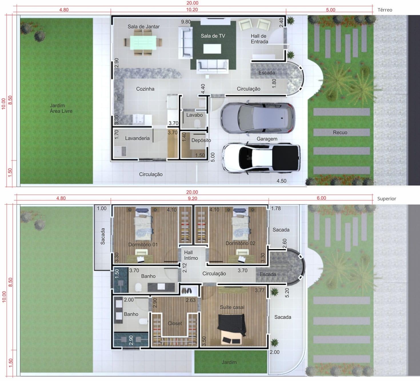 Planta de sobrado moderno pequeno projetos de casas for Casa moderna 90m2