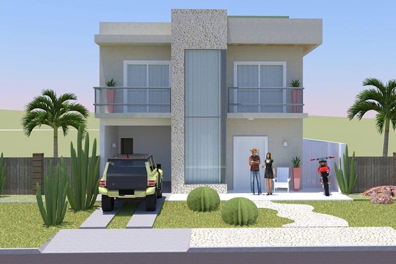 Planta de sobrado com rea de lazer projetos de casas Modelo de casa con local comercial