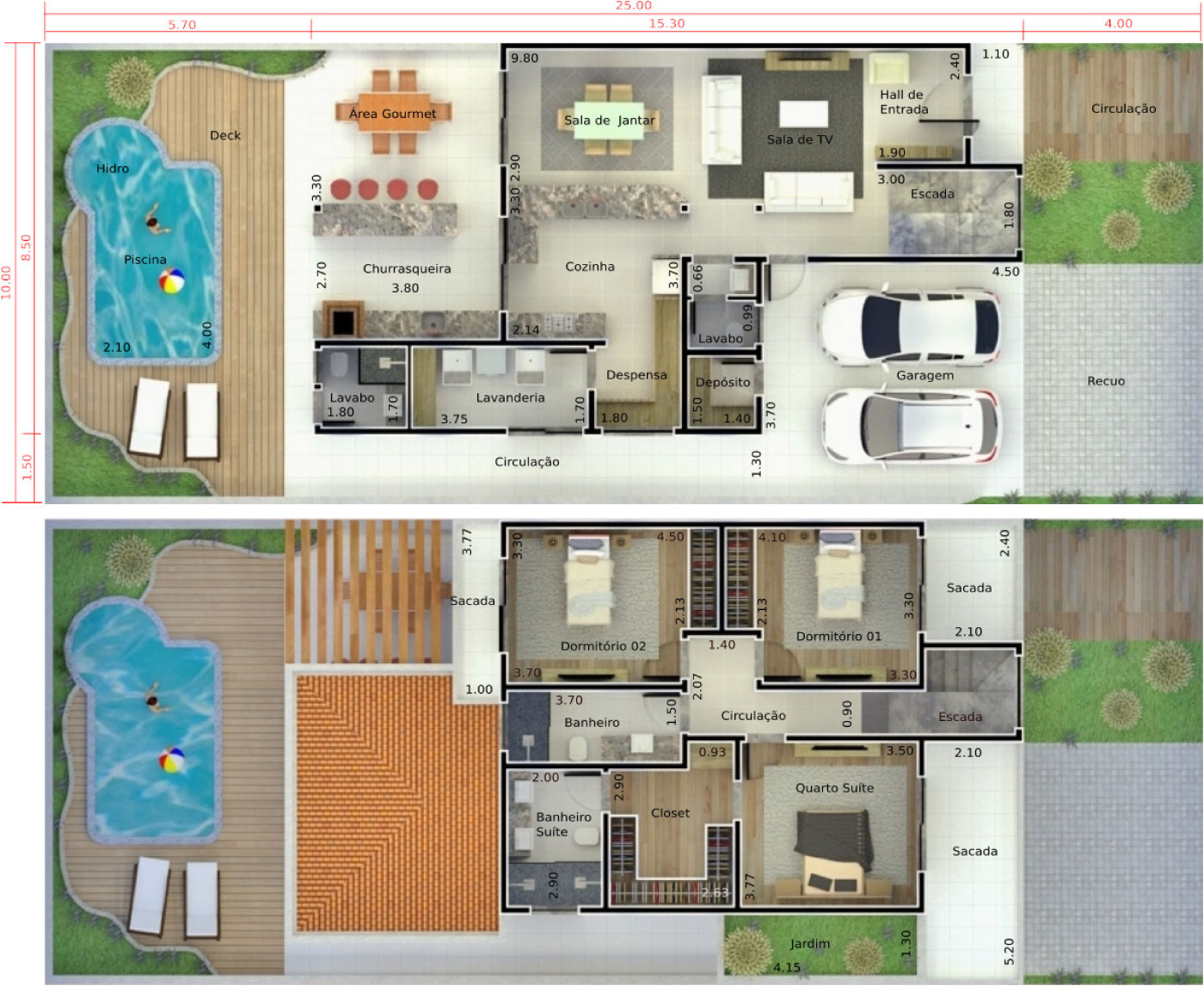 Planta de sobrado com piscina e deck Projetos de Casas Modelos de  #2C919F 1470 1252