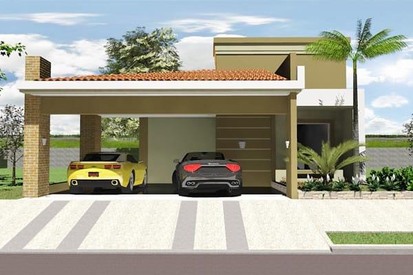 Planta de casa térrea com garagem ampla