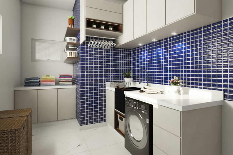 Lavanderia com pastilha azul