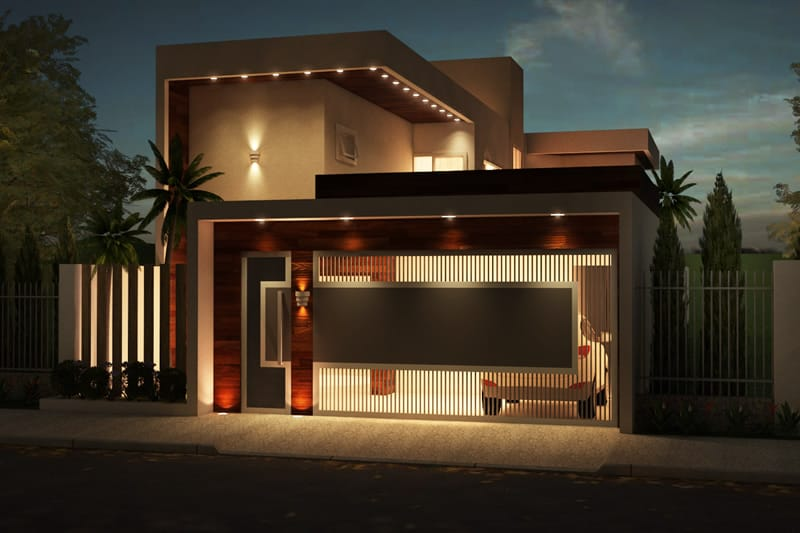 Casa com iluminação moderna