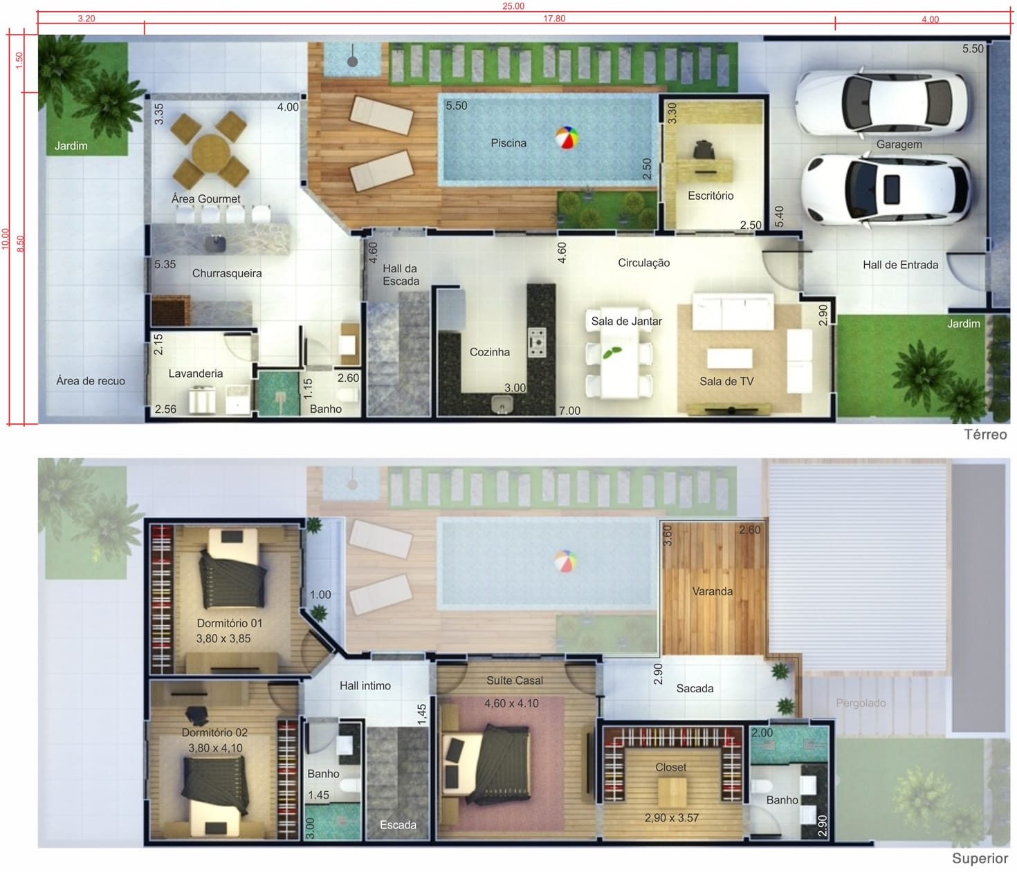Projeto de sobrado com terra o projetos de casas for Casa moderna 7x20