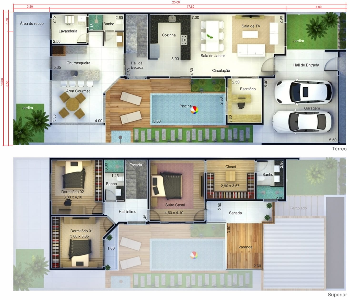 Projeto de sobrado com terraço. Planta para terreno 10x25