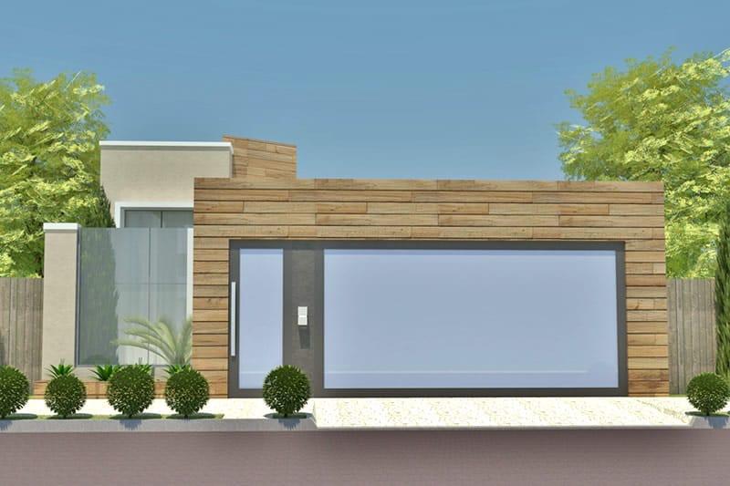 Planta de casa com fachada de madeira