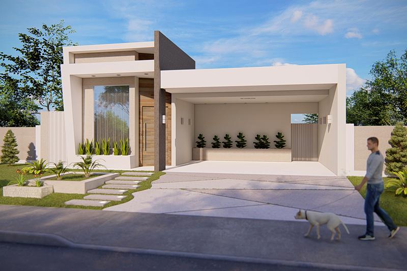 Casa simples com garagem para dois carros