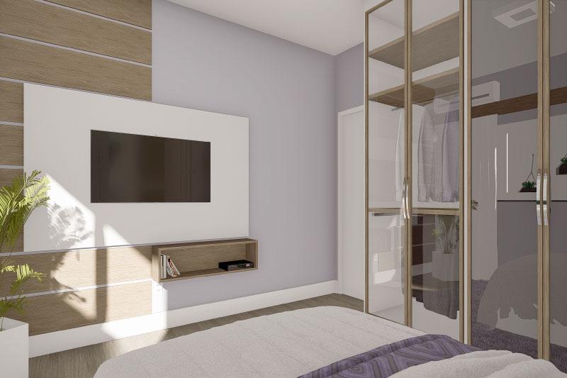 quarto com painel simples
