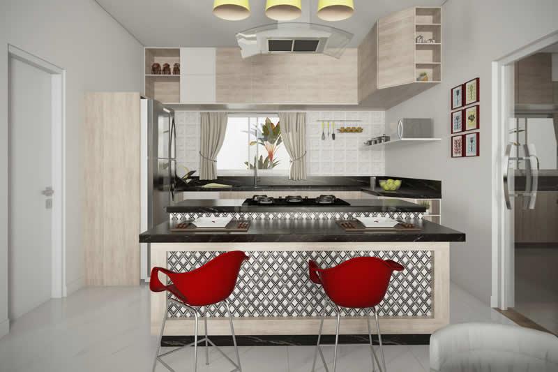 Cozinha com ilha e revestimento