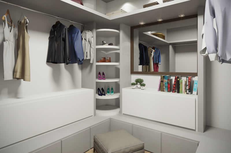 Closet branco e pequeno