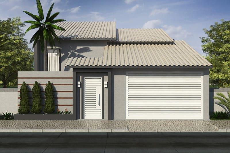 Casa com p direito alto e rea de luz projetos de casas for Modelos de frentes de casas