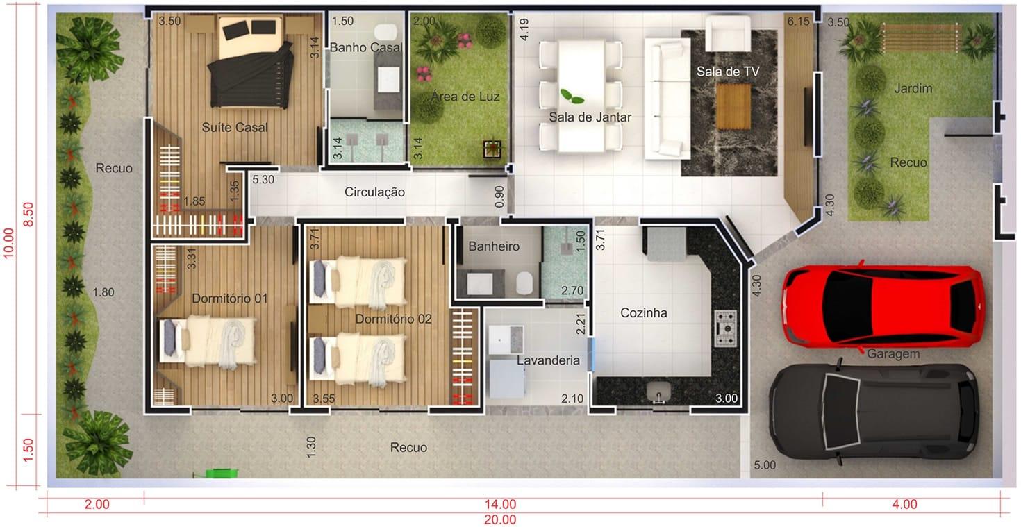 Sala De Tv Planta Baixa ~  área de luz  Projetos de Casas, Modelos de Casas e Fachadas de Casas