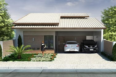 Casa com fachada rústica
