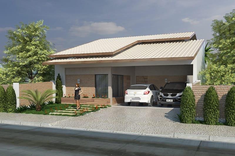 Casa com telhado branco