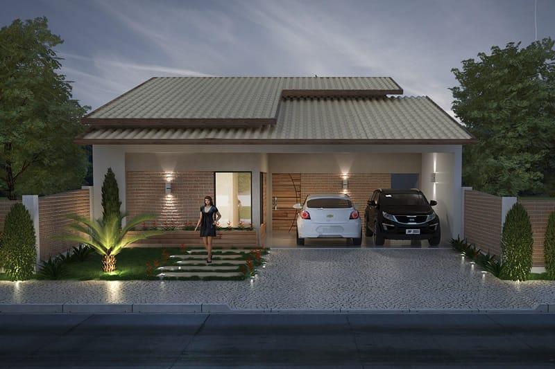 Casa térrea com jardim e telhado aparente