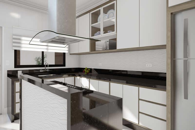 Cozinha com bancada em mármore preto