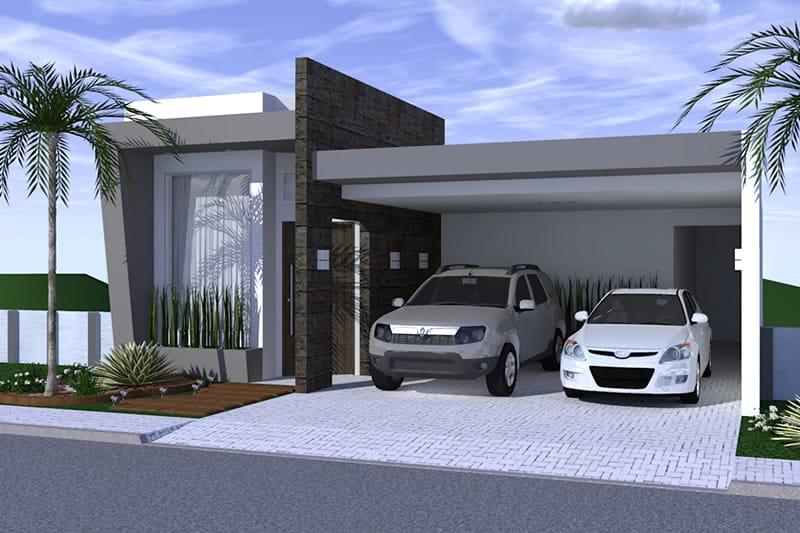 Planta de casa com ambientes integrados projetos de for Casa moderna 4 ambientes