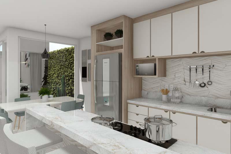 Planta de casa com ambientes integrados