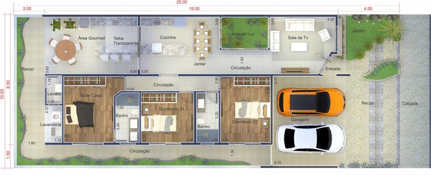 Planta de casa com ambientes integrados projetos de for Casa moderna 7x20