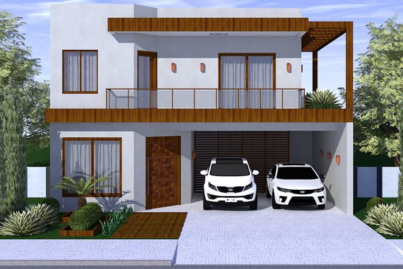 Projeto com fachada em madeira