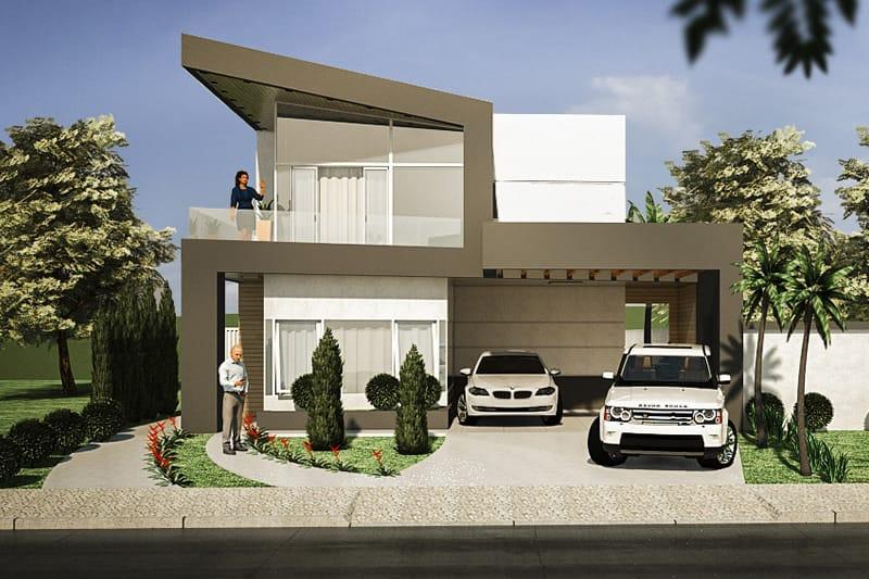 Modelo de casa com pergolado de madeira