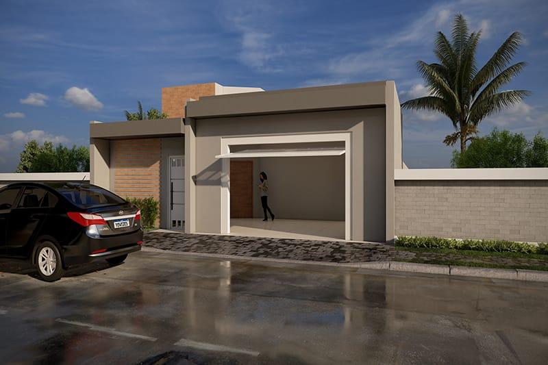 Casa com fachada simples e barata