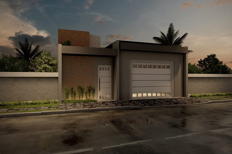 Planta de casa com portão fechado