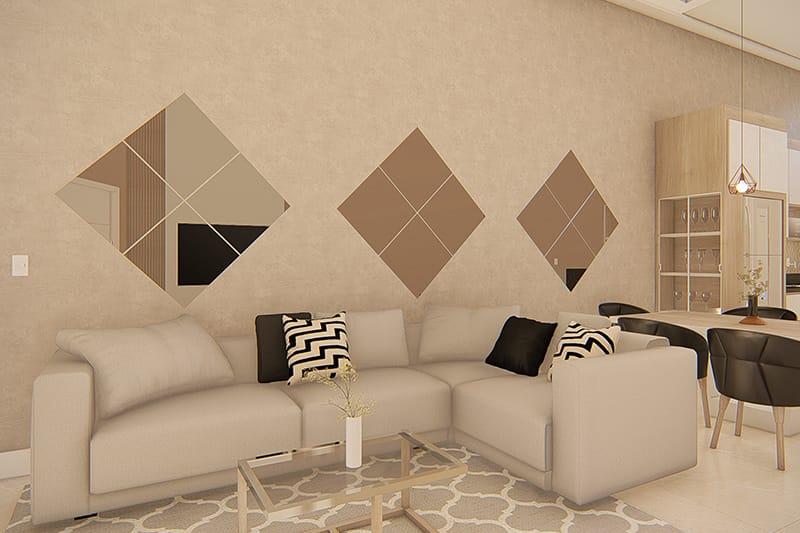 Sala de tv com sofá em L