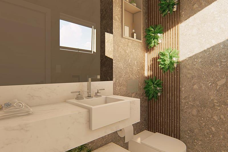 Banheiro externo com revestimentos modernos