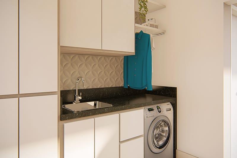Lavanderia com armários embutidos