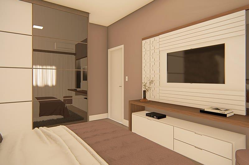 Suite com guarda roupas e espelho