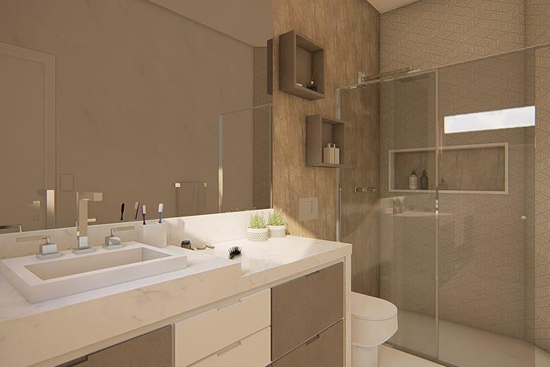 Banheiro com revestimentos marrons