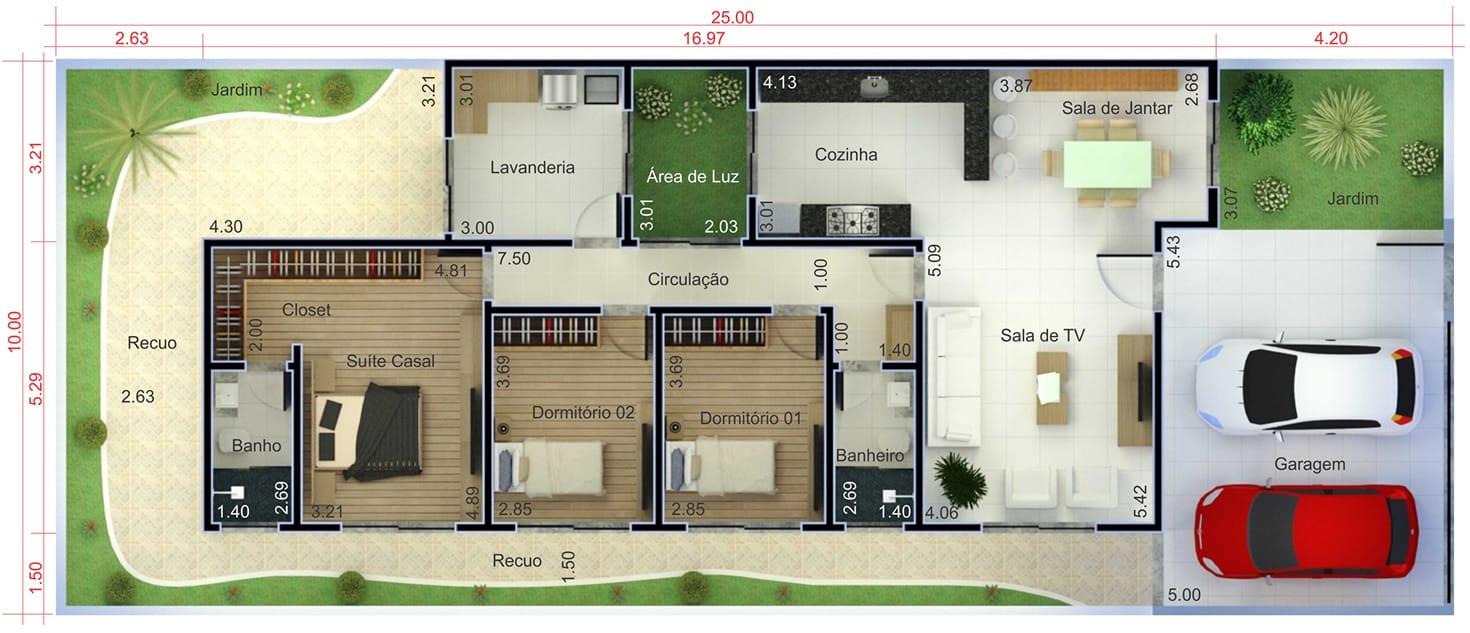 Planta de casa t rrea com 3 quartos projetos de casas for Casa moderna 7x20