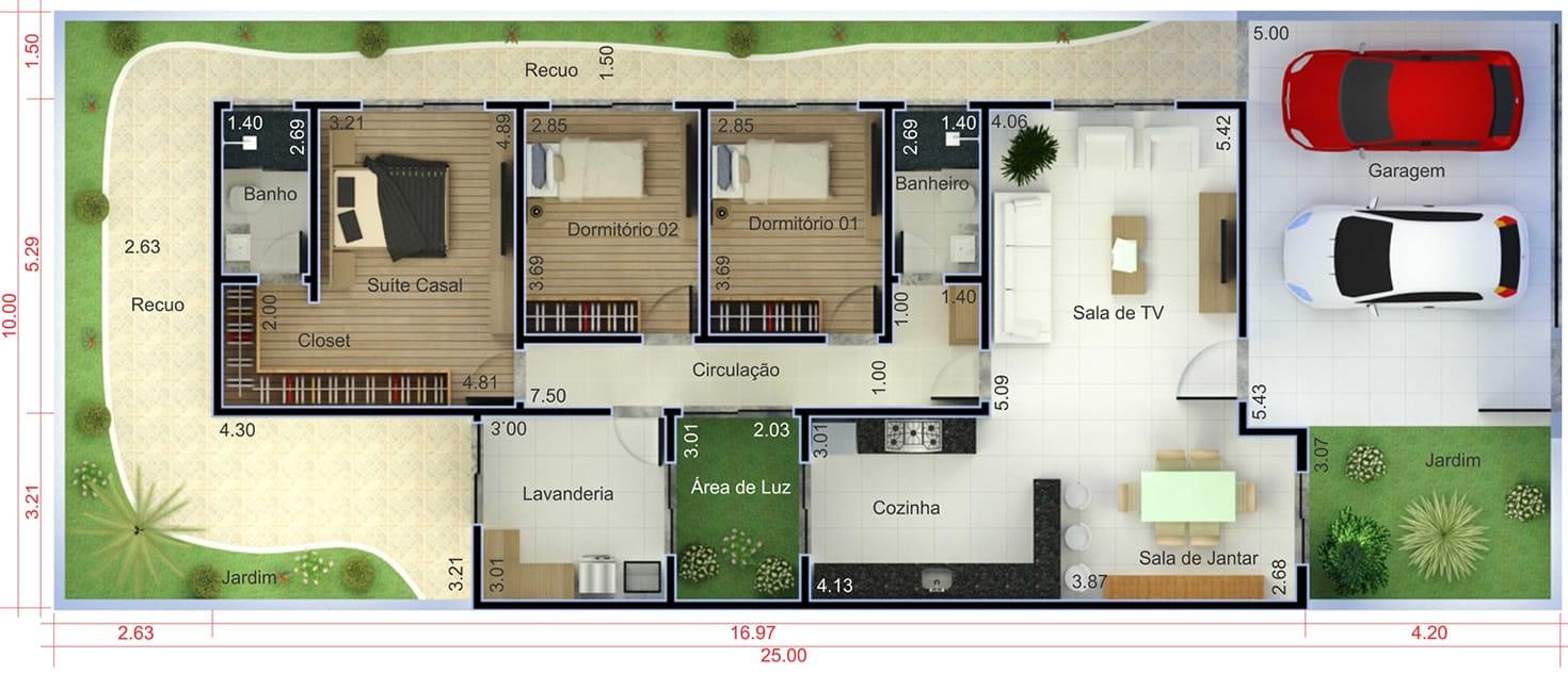 Planta De Casa T Rrea Com 3 Quartos Projetos De Casas Modelos De