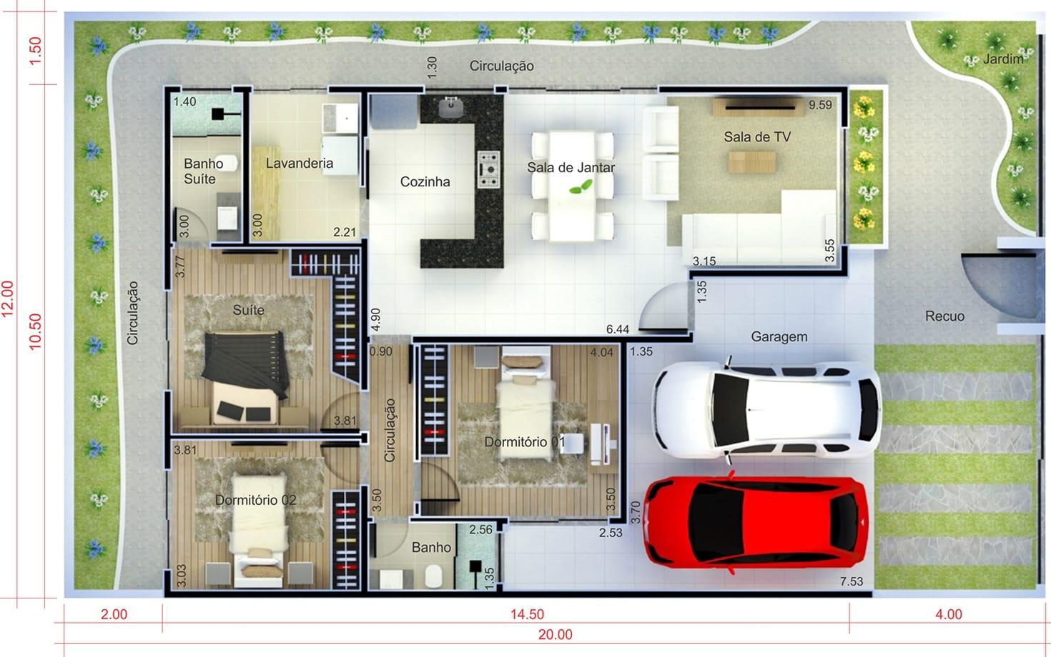 Casa térrea com garagem para dois carros. Planta para terreno 12x20