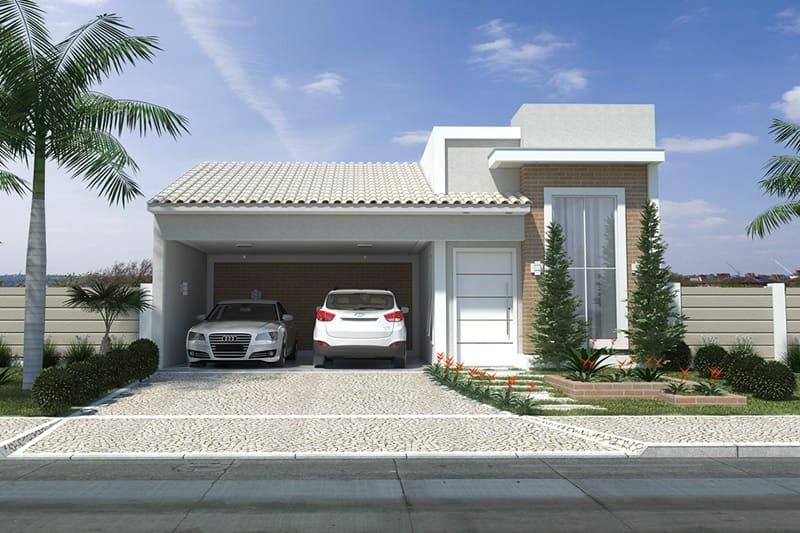 Planta de casa com fachada de tijolinho projetos de Fachadas para casas de dos plantas