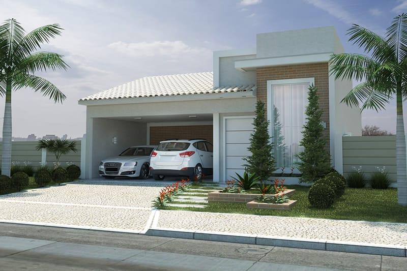 Planta de casa com fachada de tijolinho projetos de for Fachadas de casas modernas gratis