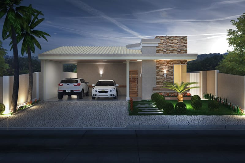 Planta de casa com telhado aparente