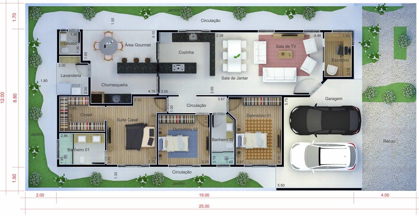 Planta de casa com telhado aparente. Planta para terreno 12x25